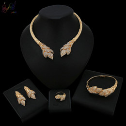Wedding Gold Crystals Australia - 2019 New Listing Crystal Covered Quality Jewellery Latest Design Four Pcs Alloy Gold Color Jewelry Set for Women Wedding
