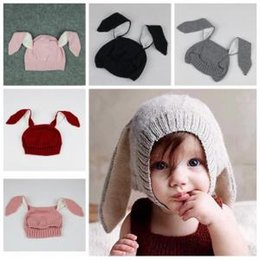 Wholesale Knit Infant Beanies Australia - Baby Rabbit Ear cap Kids Beanies Infant Warm Knitted plush Hats warmer Winter crochet Photography Props Hat 200pcs AAA1611