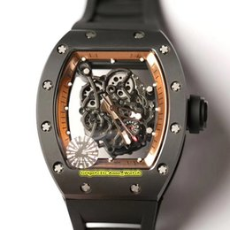best mens gold watches UK - 14 Color Best Edition RM055 Skeleton Dial Y-TZP Black Ceramics Case Japan NH Automatic RM 055 Mens Watch Black Rubber Strap Sport Watches