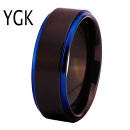 women black wedding ring NZ - Classic Wedding Rings For Women Men's Fashion Engagement Ring Male And Female Finger Jewelry Matte Black With Blue Tungsten Ring J 190515