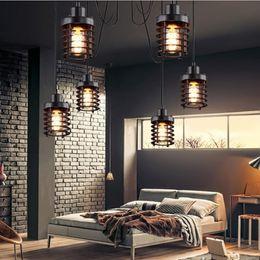Black Warehouse Lights NZ - Vintage Light Loft Industrial Decor Warehouse Ring Pendant Light American Lamps For Restaurant Bedroom Home Decoration E27