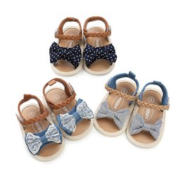 Baby Girl Summer Canvas Shoes Australia - Lovely Soft Sole PU Baby girls Canvas bow First Walkers Shoes Fashion summer Prewalkers First walker toddler moccasins
