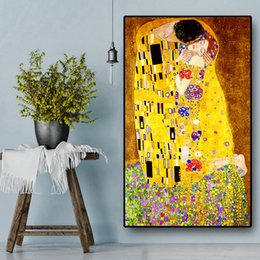 Modern Art Canvas Print Australia - 100% Handpainted & HD Print Classic Artist Gustav Klimt kiss Modern Art Oil Painting On Canvas Wall Art Home Decor High Quality G155