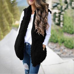 Wholesale womens long waistcoats for sale - Group buy Luxury Womens Ladies Oversized Vests Warm Faux Fur Fleece Wool Waistcoat Long Coat Outwear Black Gray Khaki Red