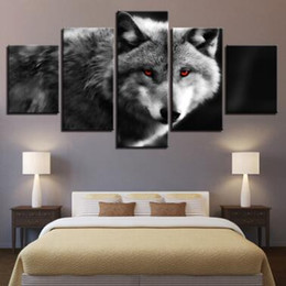 Discount wall beds more - Wall Art Canvas Pictures 5 Panels Modern Animal Wolf No Frame Painting Canvas Art Wall Picture For Bed Room Unframed