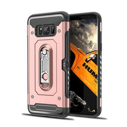 Wholesale Card Ring Australia - For LG V30 V50 G8 G7 Q8 Metal Kickstand Cards Holder Armor Hybrid Ring Case For Samsung Galaxy M10 M20 A10 A20 A30 A40 A50 A70