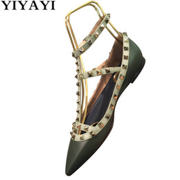 $enCountryForm.capitalKeyWord NZ - Rivet Shoes Woman Chaussures Femme Patent Leather Flat Shoes High Quality Ladies Black Green Sexy Pointed Toe Woman
