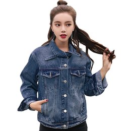 $enCountryForm.capitalKeyWord Australia - Spring Autumn Fashion Jeans Jacket Women Ladies High Quality 2019 Short Slim Denim Jacket Korean Bow Collar Bomber Coat CM1109