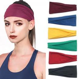 Women yoga headband online shopping - Women solid Sport Headband Elastic Fitness Yoga Sweatband Outdoor Gym Running Tennis Basketball Wide Hair Bands AAA1793