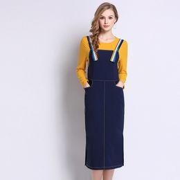 ladies mid calf dresses 2019 - Plus Size Yellow Knitted Blue Patchwork Long Sleeve Split Straight Dress Women Elegant Casual Street Fashion Dress Lady