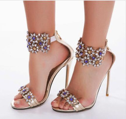 beach wedding dresses rhinestones NZ - 2019 crystal designer high heel wedding shoes rhinestone women's summer fashion beach wedding shoes add size high heels for the bride