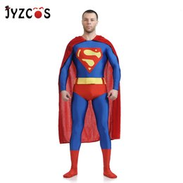 costume superman Australia - JYZCOS Adult Superman Costume Movie Superhero Cosplay Costume Spandex Lycra Zentai Suit Halloween Carnival Costumes for MenMX190923