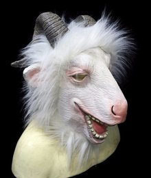 Goat costumes online shopping - Latex Goat Mask with Horns Ram Animal Head Adult Halloween Costume Face Disguise White