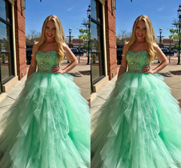 Strapless Sequin Red Dress Australia - 2019 Modern Lime Green Ruffles Ball Gown Quinceanera Prom Dresses Strapless Crystal Beaded Sequins Tulle Floor Length Sweet 15 Dress