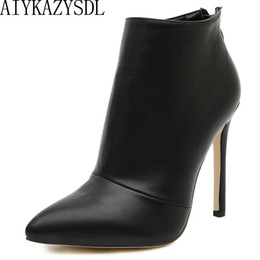 Ankle Chain Pumps NZ - AIYKAZYSDL Women Pumps Boots Concise High Heel Shoes Woman Pointy Toe Back Zipper Dress Career Ankle Boots Short Bootie Stiletto