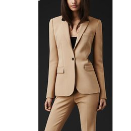 $enCountryForm.capitalKeyWord NZ - Women Beige Custom made Pant Suits New Formal Office Women Suits Ladies Business Business Professional Clothes Work Wear