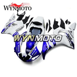 Motorcycle Fairings For Yamaha Australia - Blue White Motorcycle Fairings For Yamaha YZF 600 R6 2003 2004 ABS Plastic Injection motorbike Kits cowlings covers