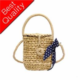 Cotton Viscose Scarves Australia - 2019 barrel straw women's summer rattan bag hand-woven beach Messenger bucket scarf towel bag