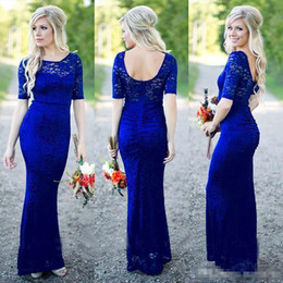 Blue Shirt For Wedding Australia - 2019 Royal Blue Lace Mermaid Bridesmaid Dresses with Short Sleeves Scoop Neck Floor Length Backless Maid of Honor Gown for Country Wedding