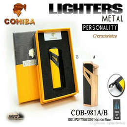$enCountryForm.capitalKeyWord Australia - New Arrival Hot Genuine Product Wholesale COHIBA Lighter Wind-proof Lighter Three Straight Fire Lighter New Cigar Torch With Gift Box