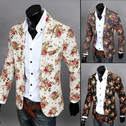 Suit Outerwear Male Australia - yauamdb men outerwear 2016 spring autumn man suit blazer male blazer casual suits Floral Suit Personality Slim Fit Jacket 52