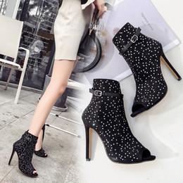 Luxury Designer Women Shoes Australia - Hot Sale-11cm black rhinestone peep toe ankle bootie fashion luxury designer women shoes ladies high heels pumps size 35 to 40