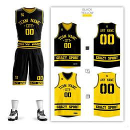 Yellow Basketball Uniforms Australia - Custom DIY V-Neck basketball jerseys Set Uniforms kits Mens Child Youth Reversible Basketball shirts shorts clothes Double-side Sportswear