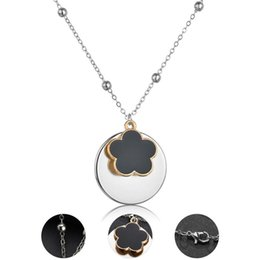 $enCountryForm.capitalKeyWord Australia - Trendy Lucky Flower Pendant Necklace For Women Black Enamel Charm Pendants Beads Chain Collares Choker Party Accessories