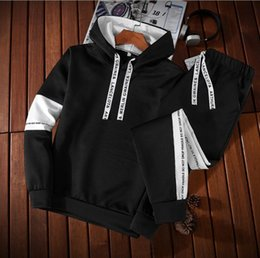 Korean sweater pants online shopping - Hooded sportswear casual suit men s fashion hooded sweater two piece Korean version of the slim nine pants sports suit