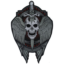 biker badges patches UK - Embroidery Sword Skull Wing Patches Punk Rock Biker Back Badges Clothes Iron on Applique Stickers Sewing Supplies 1piece