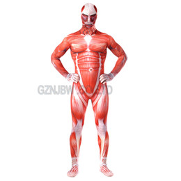 Titan Suit Australia - Attack on Titan Cosplay Costume Costume Adult Mens Lycra Spandex Halloween Muscle Zentai Suit Bodysuit Unitard leotard