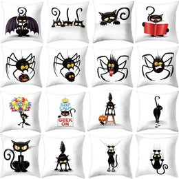 $enCountryForm.capitalKeyWord NZ - 1Pcs Halloween Pillow Cover Halloween Bat Cat Series Pillowcase Super Soft Home Sofa Bed Decorative Cushion Cover 45X45cm Pillow Case