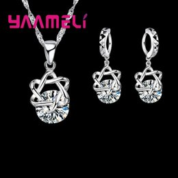 Wholesale Women Fashionable Tops Australia - YAAMELI Big Discount Top Quality 925 Sterling Silver Shining CZ Fashionable Necklace Earrings Jewelry Sets For Women Wedding