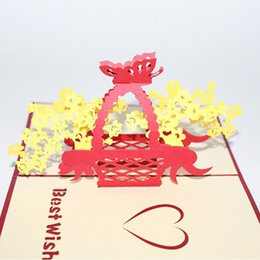 greeting card paper wholesalers NZ - Laser Cutting Greeting Card Creative -up Paper Basket Greeting Card New Thank You Postcard