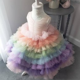 $enCountryForm.capitalKeyWord Australia - Rainbow Ruffles Tutu Kids Formal Flower Girl Dresses 2019 Pearls Jewel Neck Ball Gown Girls Pageant Gowns Custom Made