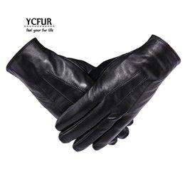 Men Gloves Leather Sheepskin Australia - YCFUR Genuine Leather Gloves Mittens Men Soft Warm Winter Gloves Men Whole Pieces Genuine Sheepskin Men's Male