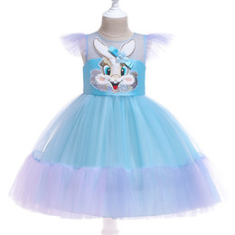 Chinese  Retail kids designer dress girls rabbit stickers flying sleeves pleated pettiskirt princess dress baby girl costume cosplay boutique 50% off manufacturers