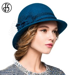 f3aa604b9a083 FS 100% Wool Cloche Hats Women For Winter Black Blue Red Wide Brim Fedora  Elegant Floral Felt Hat For Ladies Cap