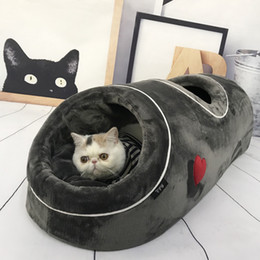 beds tents Australia - Fashion New Winter Cat Beds Soft Warm Small Dog Bed Coral Fleece Cat Pet Tunnel Nest Dog Cats Tents Pads