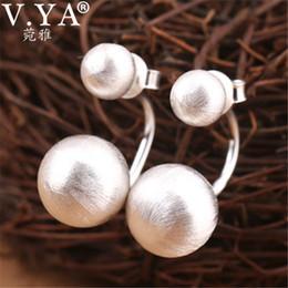 $enCountryForm.capitalKeyWord NZ - V.ya Double Side 925 Sterling Silver Earrings For Women Brushed Round Ball Stud Earrings Fashion Jewelry T7190617