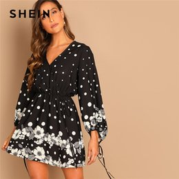 24d22eaa839401 SHEIN Black Knot Polka Dot Knee Length V-Neck Puff Sleeve Floral A-Line  Dress Casual Elegant Women Autumn Modern Lady Dresses