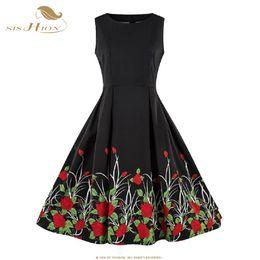 ec124905c5 SISHION 2019 Sleeveless Summer Women Dress VD1079 Swing Floral Print  Vintage Black A line S-4XL Plus Size Dress robe femme