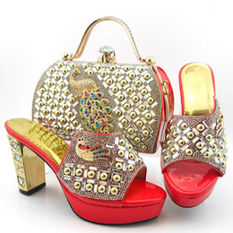 coral handbag Canada - Wonderful coral women pumps with crystal decoration heel style african dress shoes match handbag set MD015,heel 10.5CM