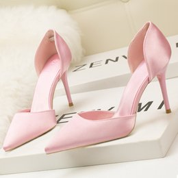 satin cut out wedding dresses Canada - European and American fashion elegant solid color women's shoes high heels dress professional wedding stiletto high heel sandals satin hollo