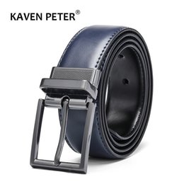 Wholesale Reversible Cow Genuine Leather Belts For men Luxury Men s Belt Leather Belt Gun Metal Alloy Buckle Casual Male Strap Blue Black