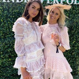 $enCountryForm.capitalKeyWord Canada - Printed lace dress with long sleeves round neck special occasion dresses 2019 ins celebrity new ruffle layer dress high end Cocktail