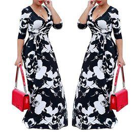 955627c7d Vestido casual de verão 2019 4xl tamanho grande Nova Moda floral Imprimir  longo maxi Vestido Mulheres outono v pescoço elegante túnica vestidos