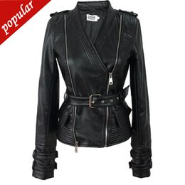 Faux leather moto jackets online shopping - 2019 Spring Autumn New Pu Leather Long Sleeve Moto Jacket Women s Double Zipper V neck Faux Leather Coat White Black