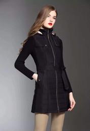 Vente en gros coton coton-rembourré coton longue section chapeau épais amovible fermeture à glissière hiver mélange de laine manches élastiques hiver nouveau vêtements pour femmes