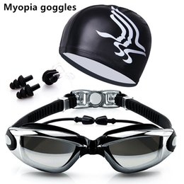 $enCountryForm.capitalKeyWord Australia - Myopia Swim Goggles With Hat and Ear Plug Nose Clip Suit Waterproof Swim Glasses anti-fog Professional Sport Eyewear Suit